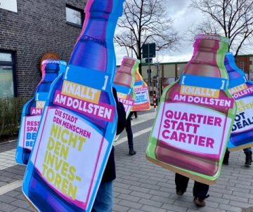 Flaschenballett auf den Housing Action Day